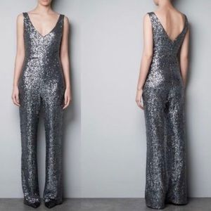 Zara Sequin Jumpsuit Silver Pants Club Cocktail
